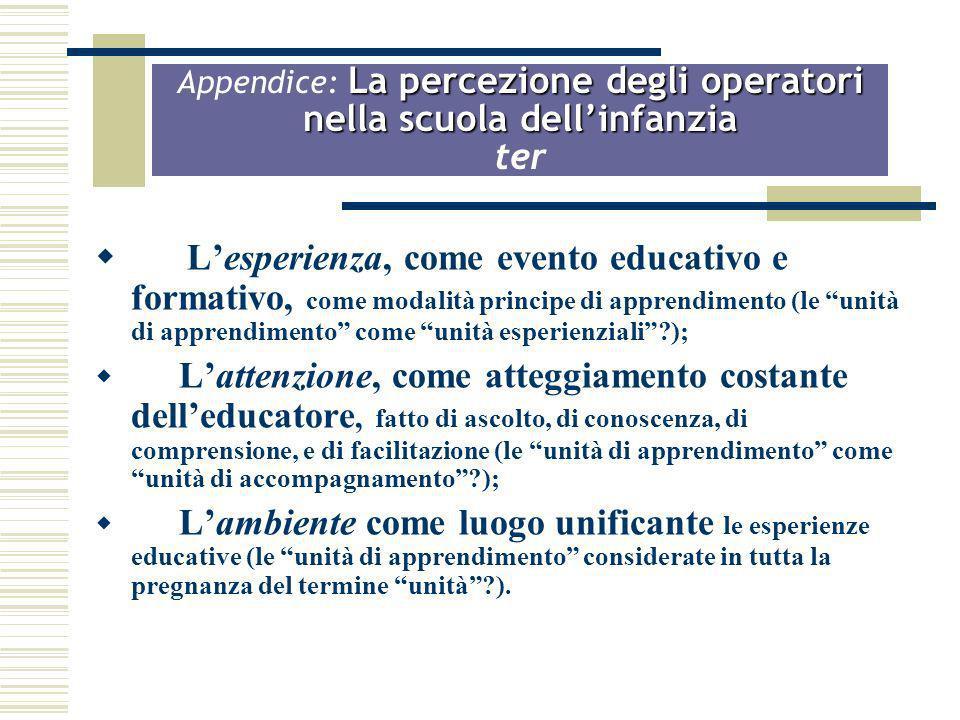 Appendice: La percezione degli operatori nella scuola dell'infanzia ter