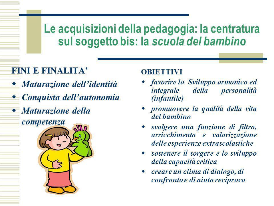 Le acquisizioni della pedagogia: la centratura sul soggetto bis: la scuola del bambino