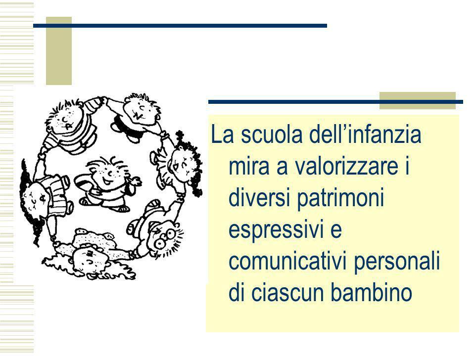 La scuola dell'infanzia mira a valorizzare i diversi patrimoni espressivi e comunicativi personali di ciascun bambino.
