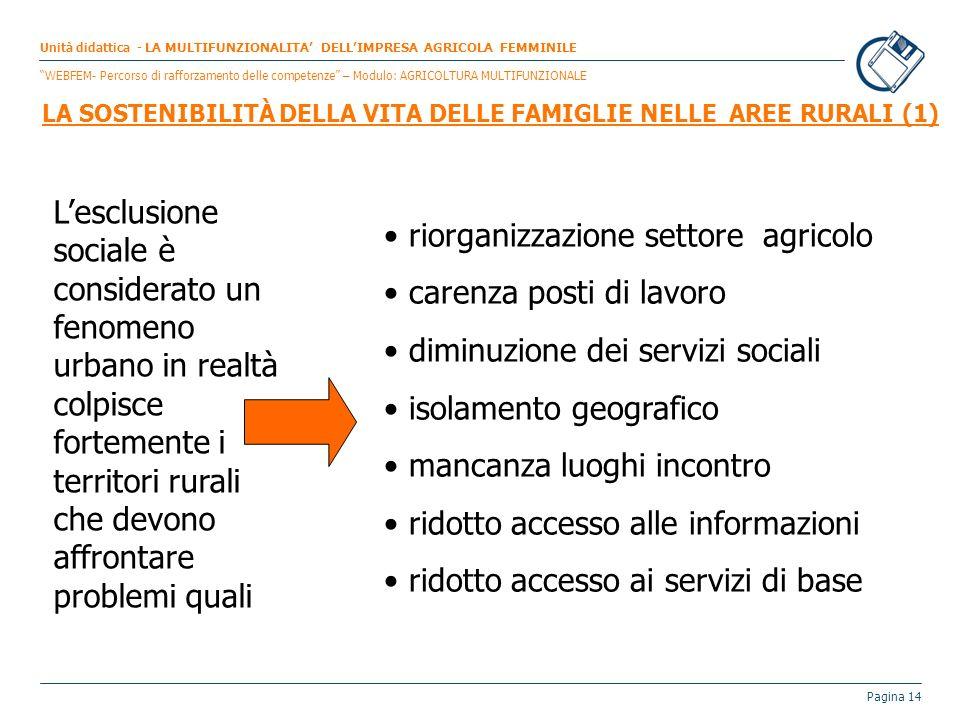riorganizzazione settore agricolo carenza posti di lavoro