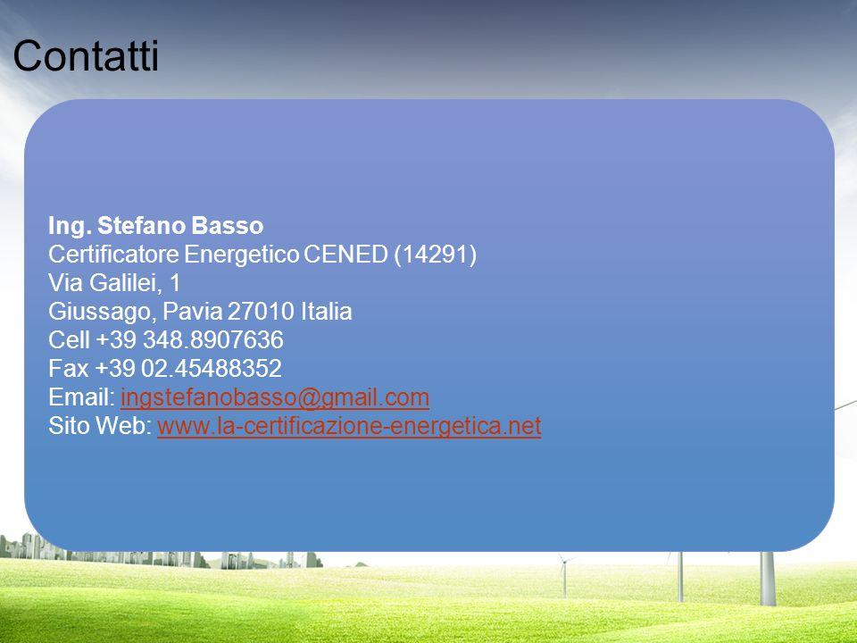 Contatti Ing. Stefano Basso Certificatore Energetico CENED (14291)