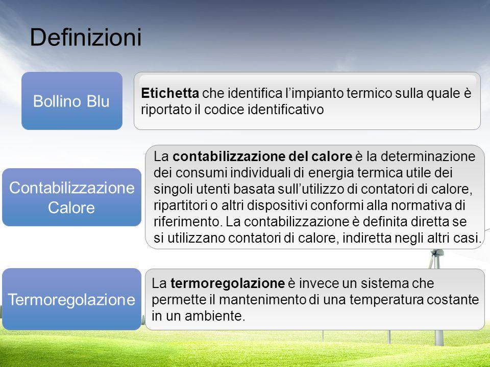 Definizioni Bollino Blu Contabilizzazione Calore Termoregolazione