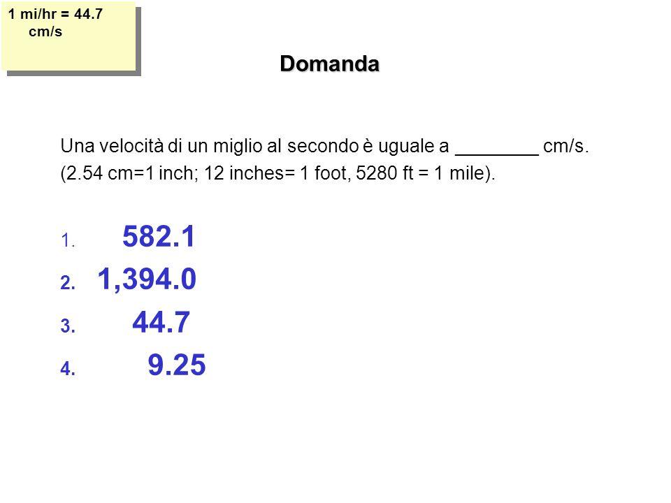 Domanda Una velocità di un miglio al secondo è uguale a ________ cm/s.