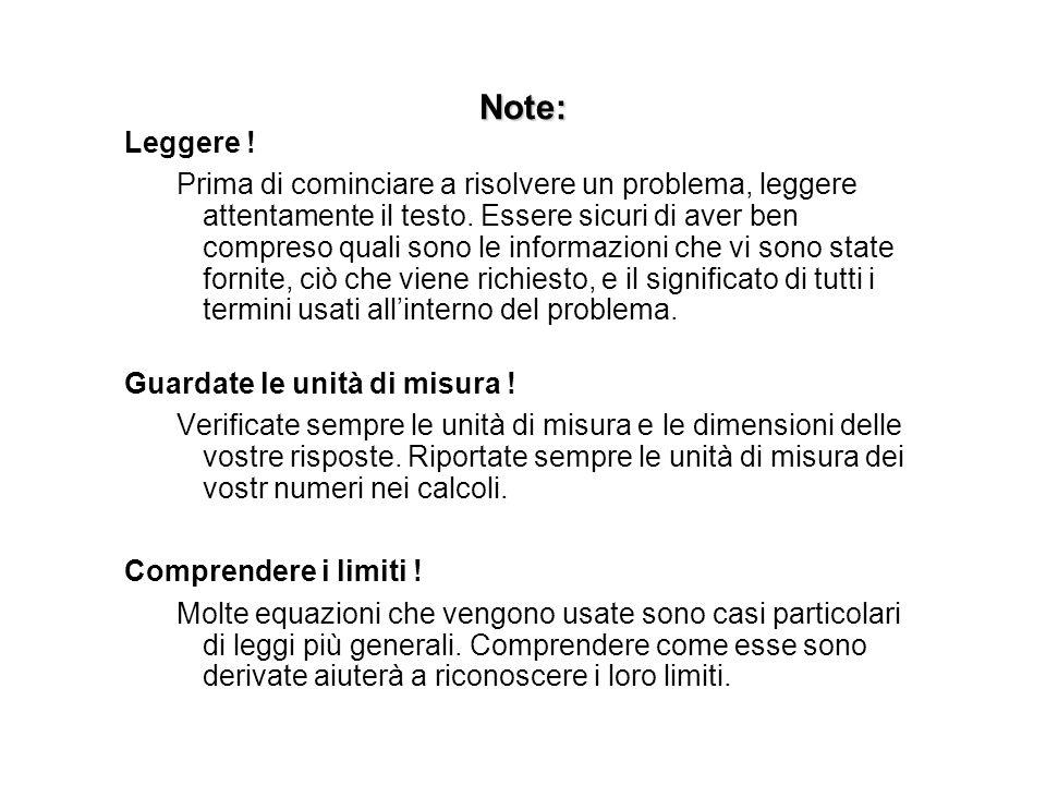 Note: Leggere !