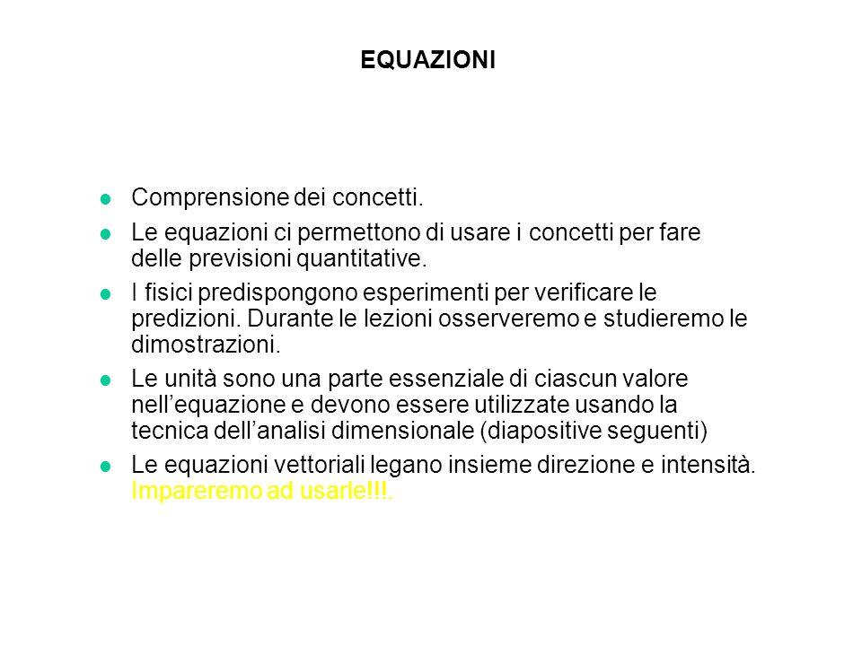 EQUAZIONI Comprensione dei concetti. Le equazioni ci permettono di usare i concetti per fare delle previsioni quantitative.