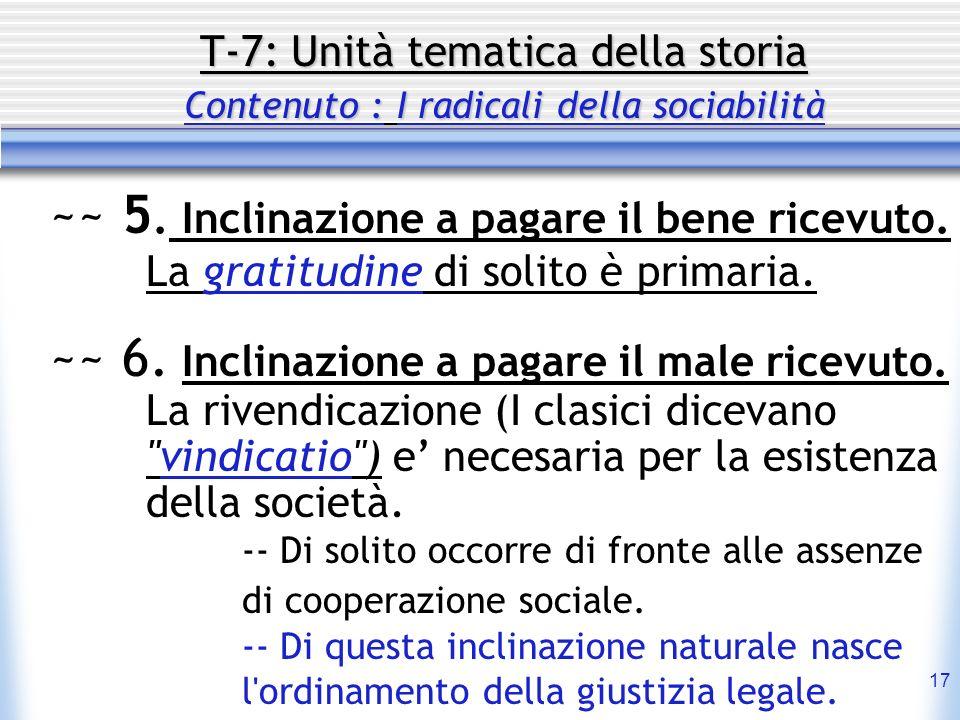 T-7: Unità tematica della storia Contenuto : I radicali della sociabilità