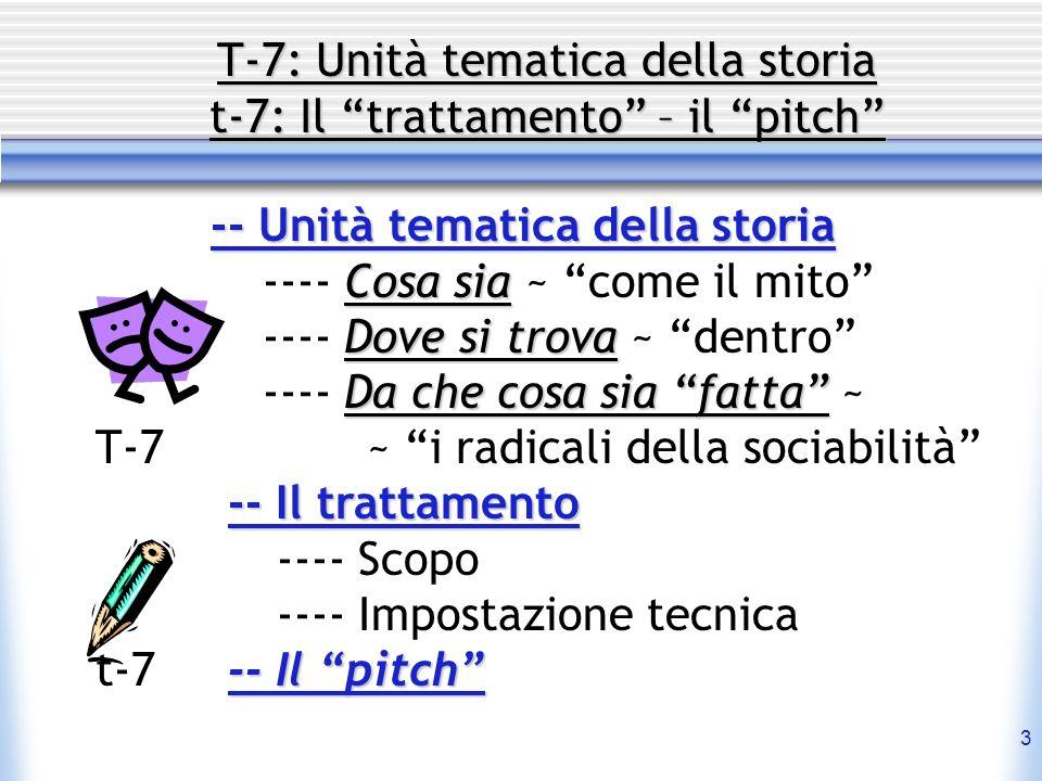 T-7: Unità tematica della storia t-7: Il trattamento – il pitch