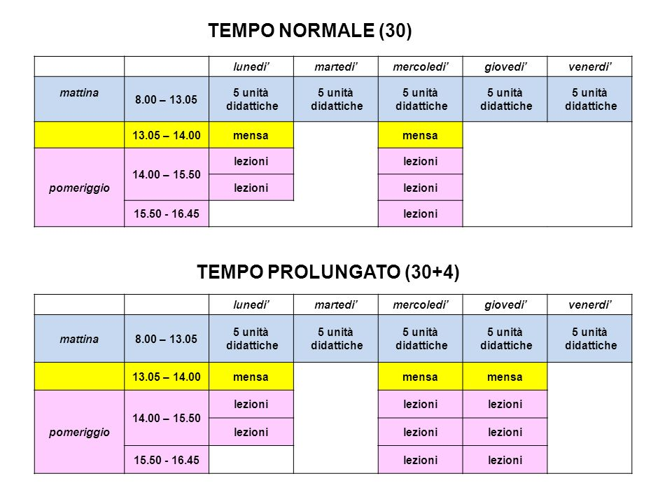 TEMPO NORMALE (30) TEMPO PROLUNGATO (30+4) lunedi' martedi' mercoledi'