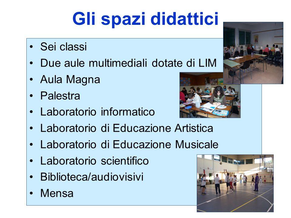 Gli spazi didattici Sei classi Due aule multimediali dotate di LIM