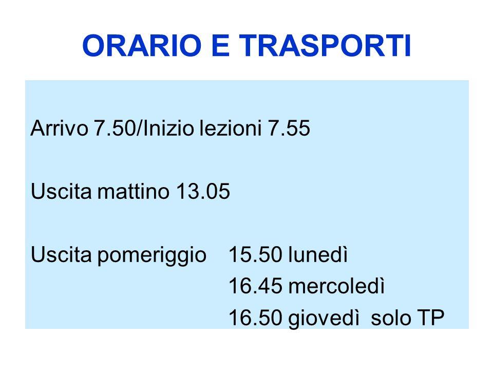 ORARIO E TRASPORTI Arrivo 7.50/Inizio lezioni 7.55