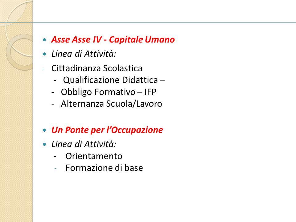 Asse Asse IV - Capitale Umano