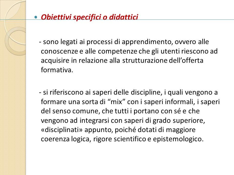 Obiettivi specifici o didattici
