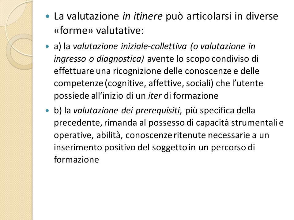 La valutazione in itinere può articolarsi in diverse «forme» valutative: