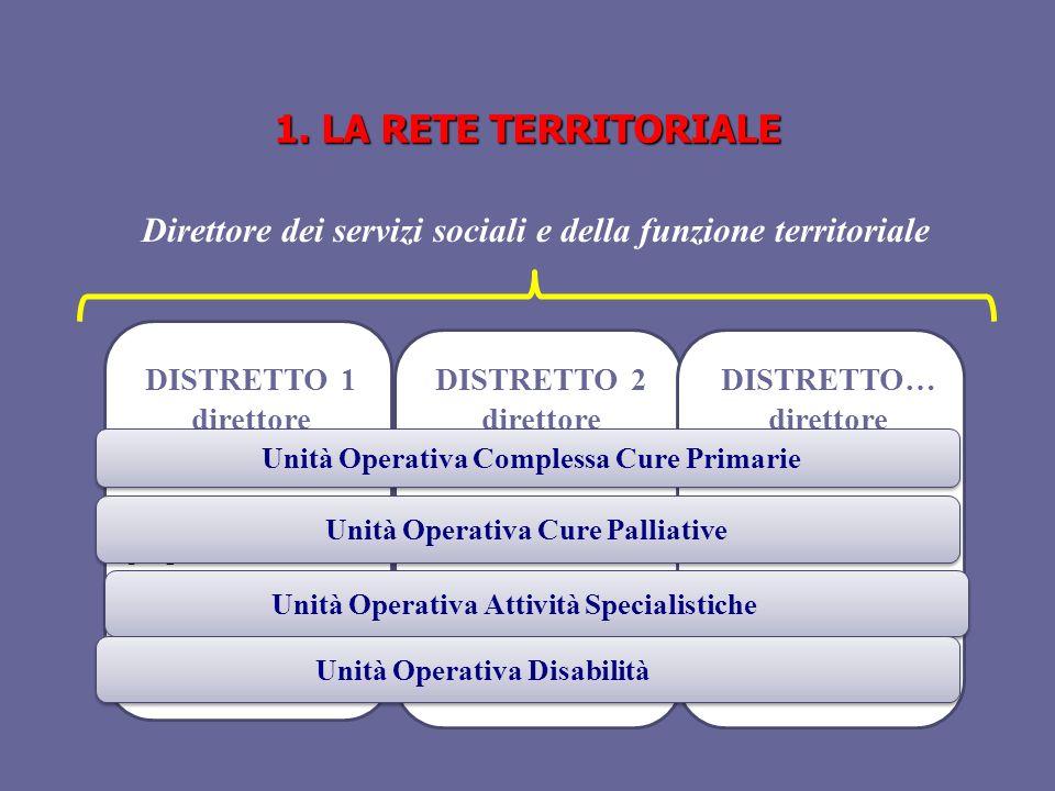 1. LA RETE TERRITORIALE Direttore dei servizi sociali e della funzione territoriale. DISTRETTO 1. direttore.