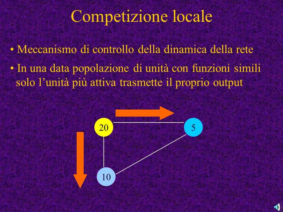 Competizione locale Meccanismo di controllo della dinamica della rete