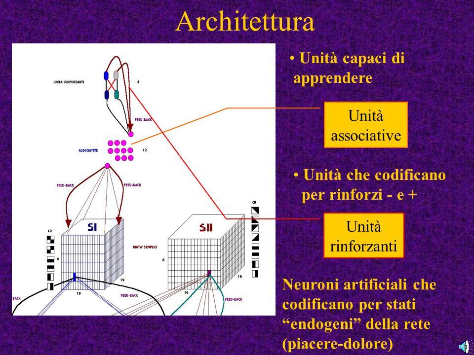 Architettura Unità capaci di apprendere Unità associative