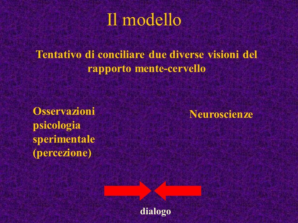 Il modello Tentativo di conciliare due diverse visioni del rapporto mente-cervello. Osservazioni psicologia sperimentale (percezione)