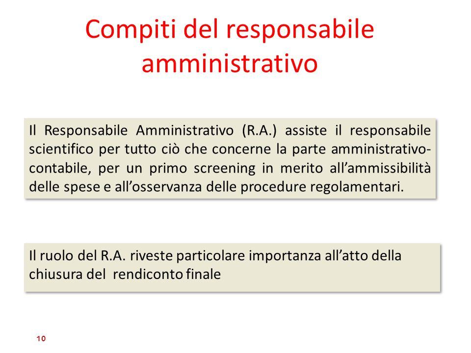Compiti del responsabile amministrativo