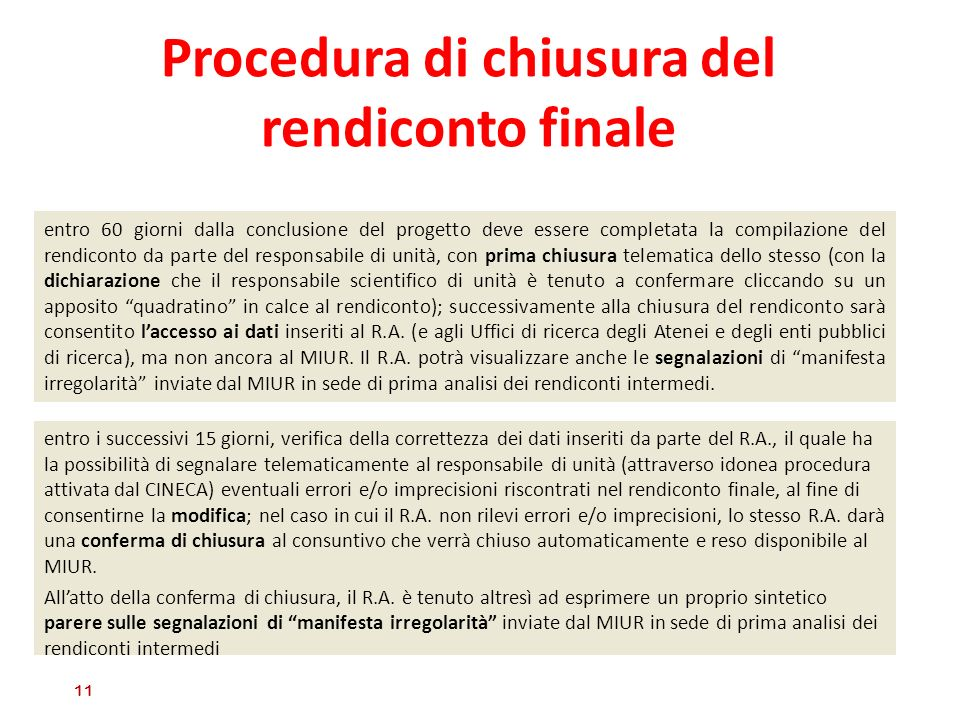 Procedura di chiusura del rendiconto finale