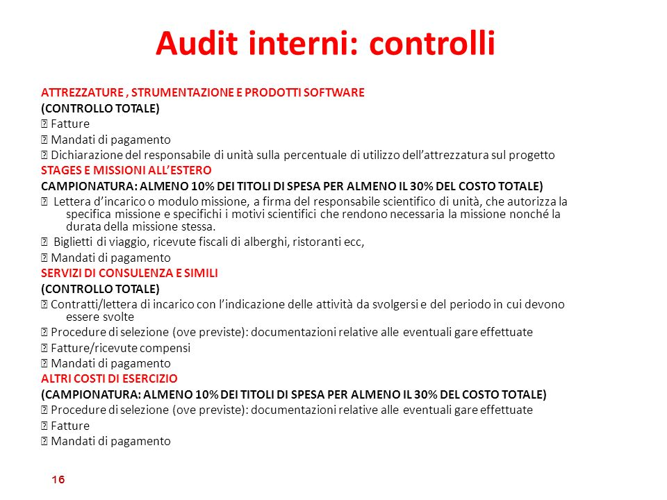Audit interni: controlli