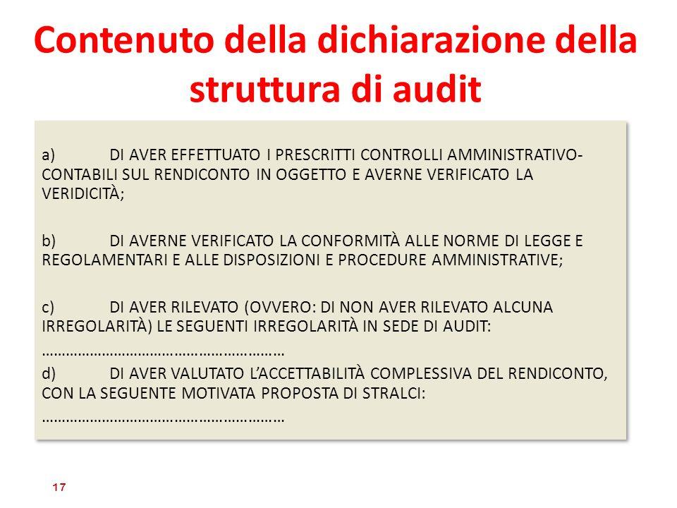 Contenuto della dichiarazione della struttura di audit