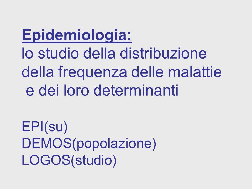 Epidemiologia: lo studio della distribuzione della frequenza delle malattie e dei loro determinanti EPI(su) DEMOS(popolazione) LOGOS(studio)