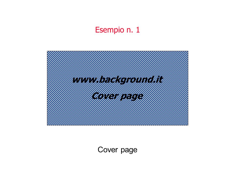 www.background.it Cover page Esempio n. 1 Cover page