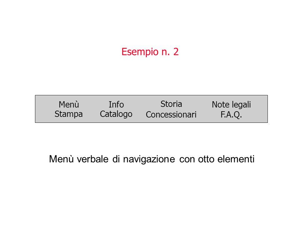 Esempio n. 2 Menù verbale di navigazione con otto elementi