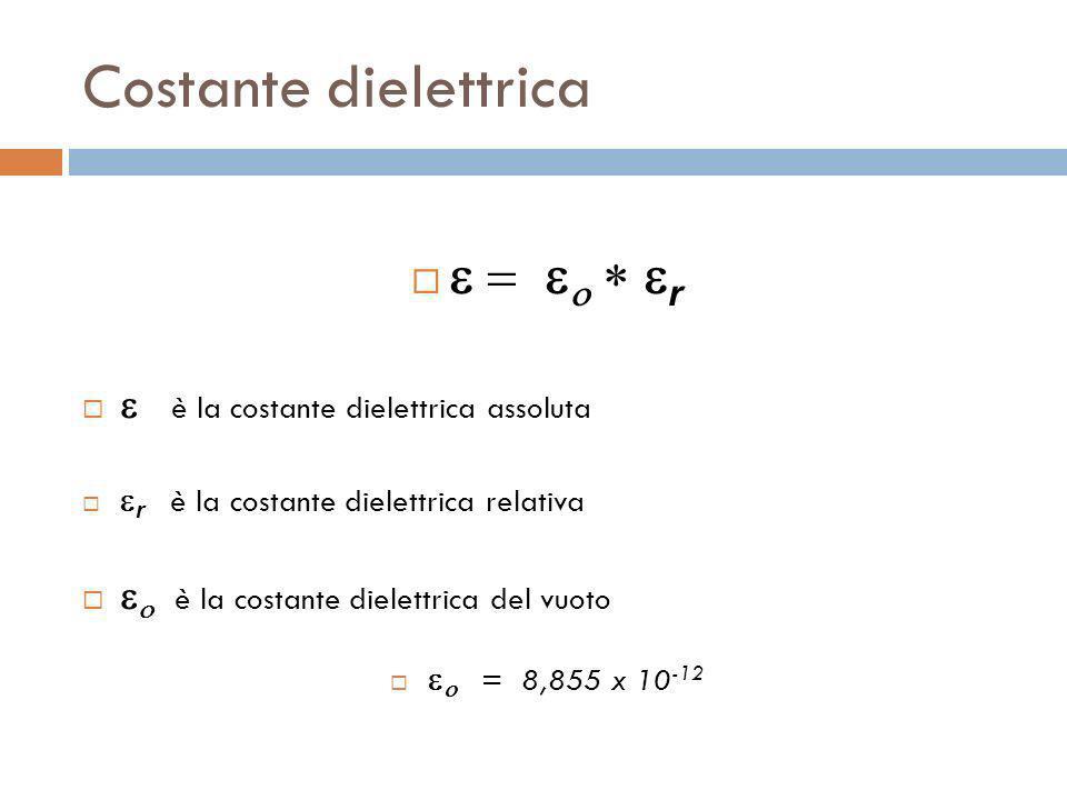 Costante dielettrica e = eo * er e è la costante dielettrica assoluta