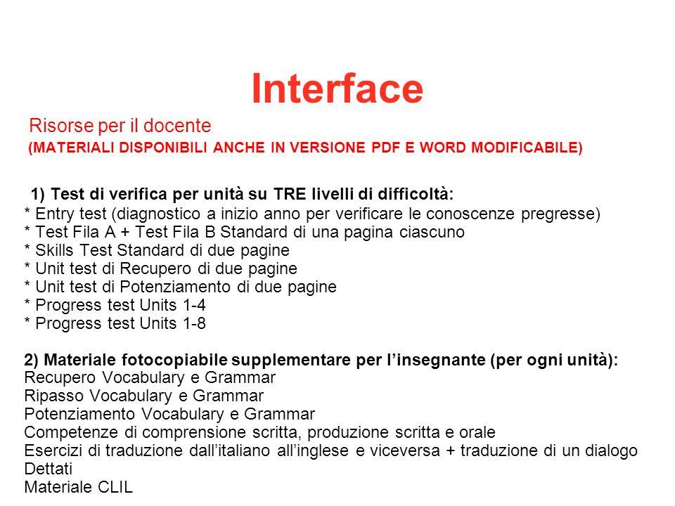 Interface 1) Test di verifica per unità su TRE livelli di difficoltà: