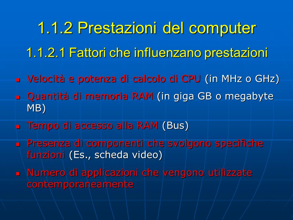 1.1.2 Prestazioni del computer