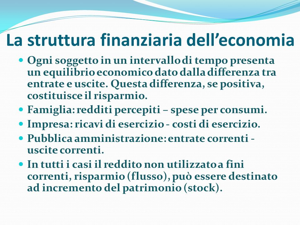 La struttura finanziaria dell'economia