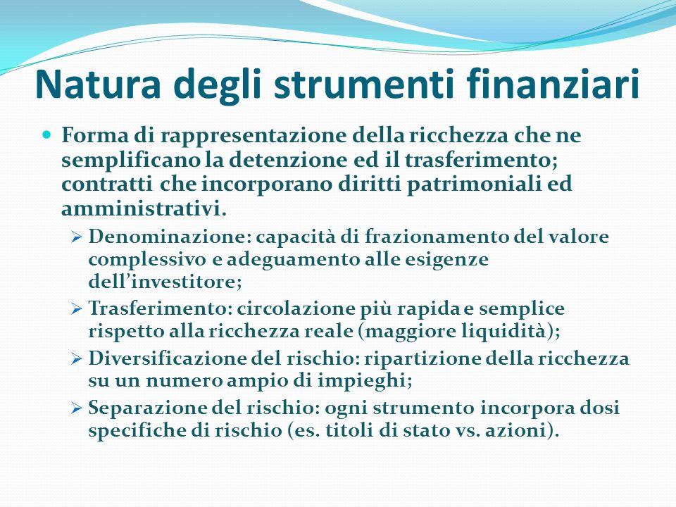 Natura degli strumenti finanziari