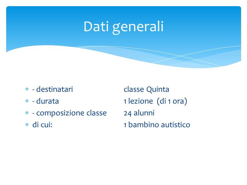Dati generali - destinatari classe Quinta