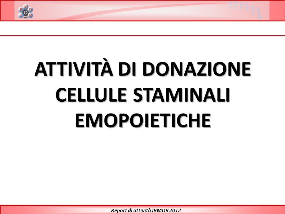 CELLULE STAMINALI EMOPOIETICHE Report di attività IBMDR 2012