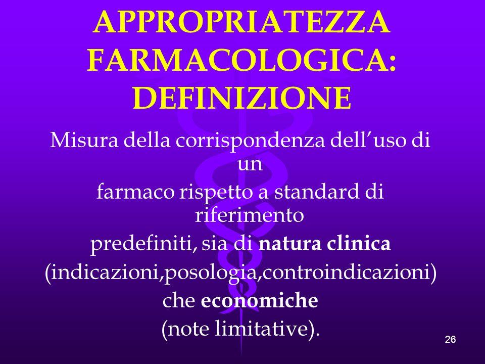 APPROPRIATEZZA FARMACOLOGICA: DEFINIZIONE