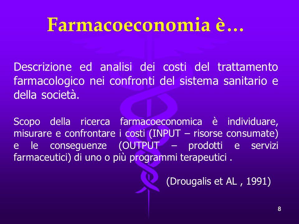 Farmacoeconomia è… Descrizione ed analisi dei costi del trattamento farmacologico nei confronti del sistema sanitario e della società.