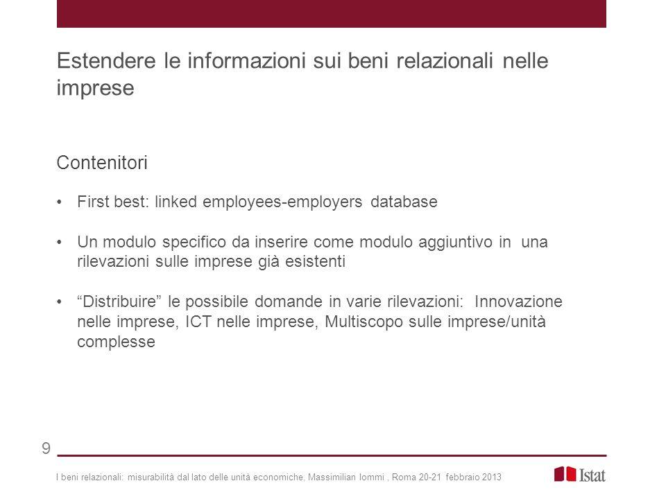 Estendere le informazioni sui beni relazionali nelle imprese
