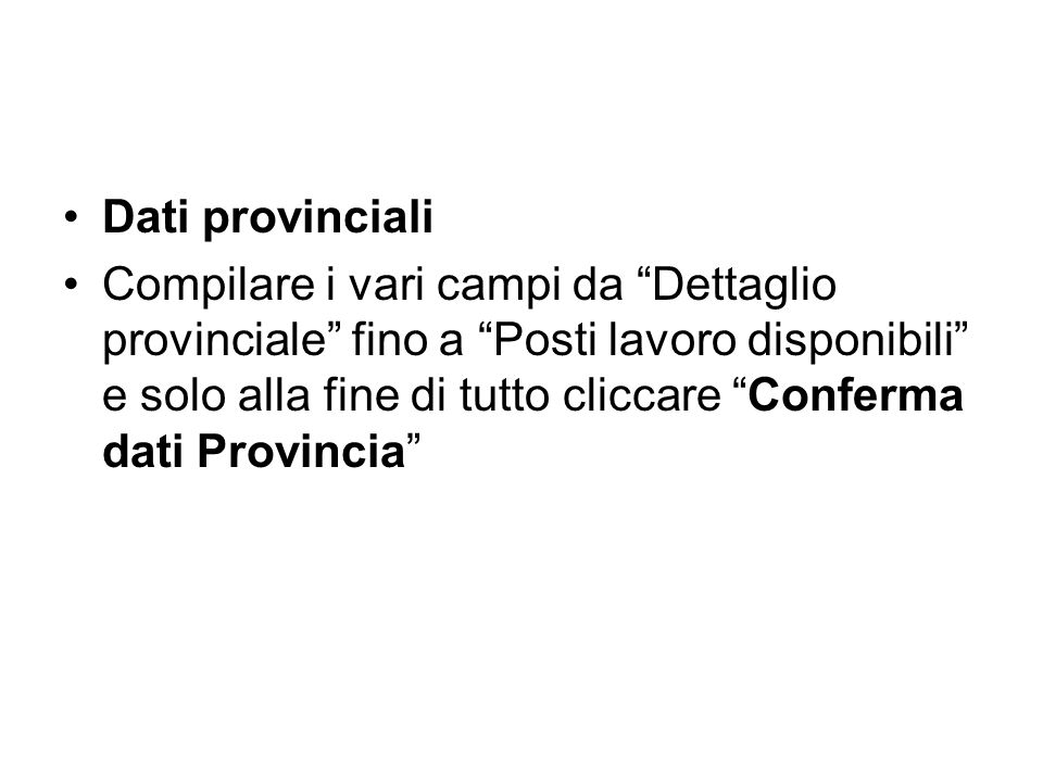 Dati provinciali