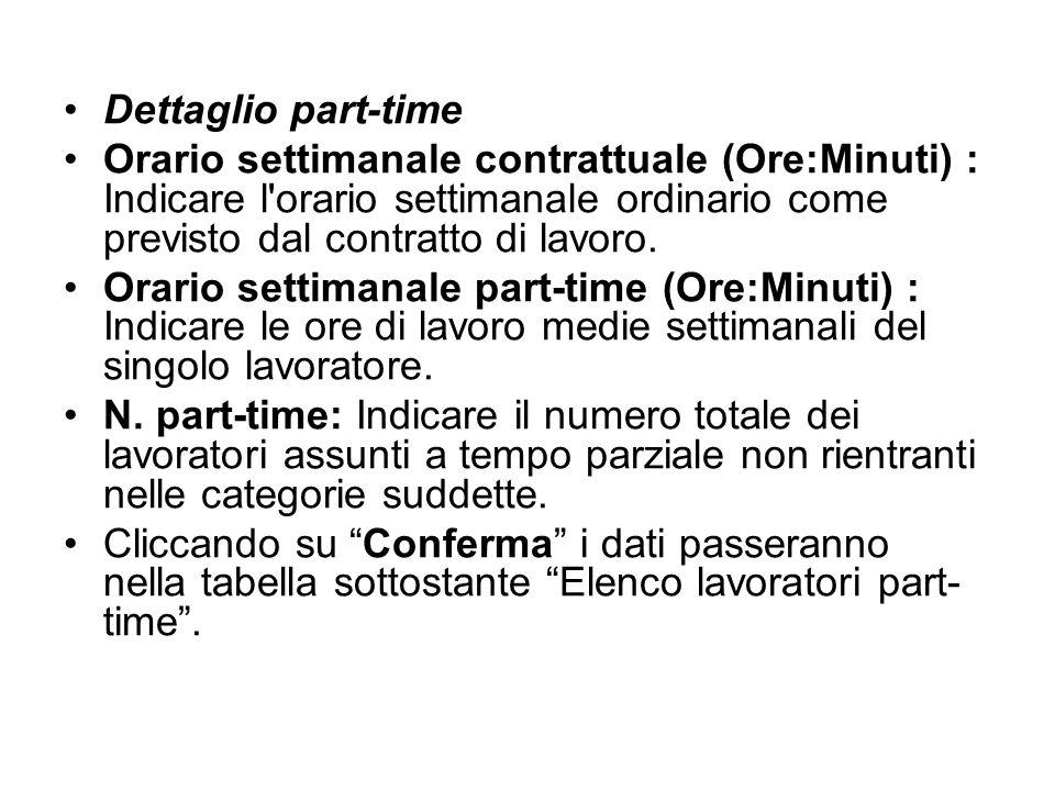 Dettaglio part-time Orario settimanale contrattuale (Ore:Minuti) : Indicare l orario settimanale ordinario come previsto dal contratto di lavoro.