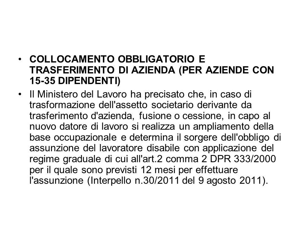 COLLOCAMENTO OBBLIGATORIO E TRASFERIMENTO DI AZIENDA (PER AZIENDE CON 15-35 DIPENDENTI)