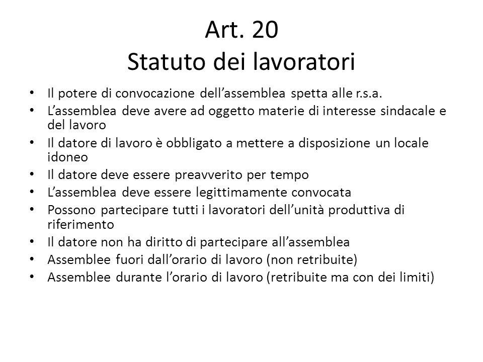 Art. 20 Statuto dei lavoratori