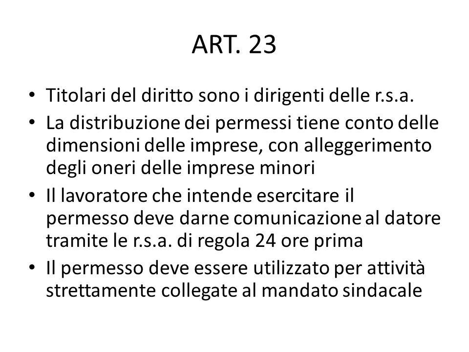 ART. 23 Titolari del diritto sono i dirigenti delle r.s.a.