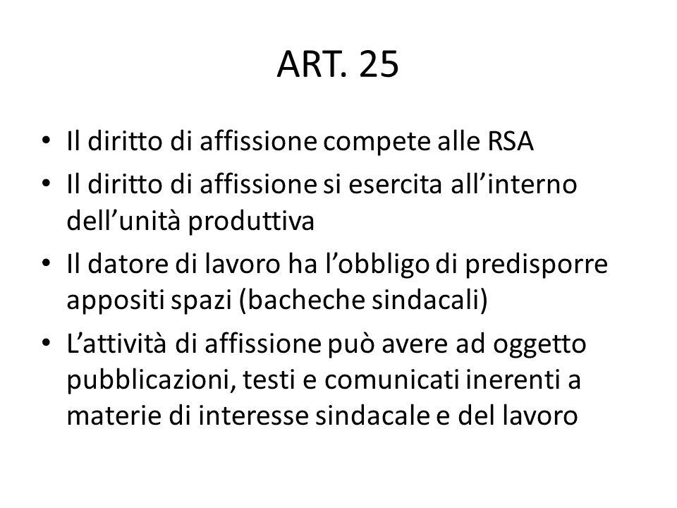 ART. 25 Il diritto di affissione compete alle RSA
