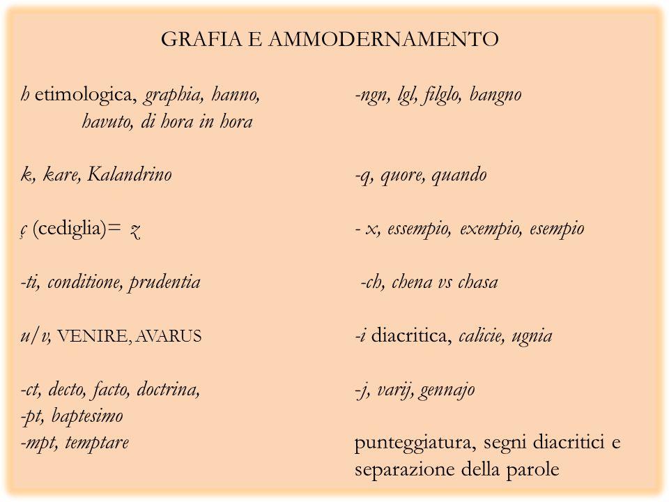 GRAFIA E AMMODERNAMENTO h etimologica, graphia, hanno,