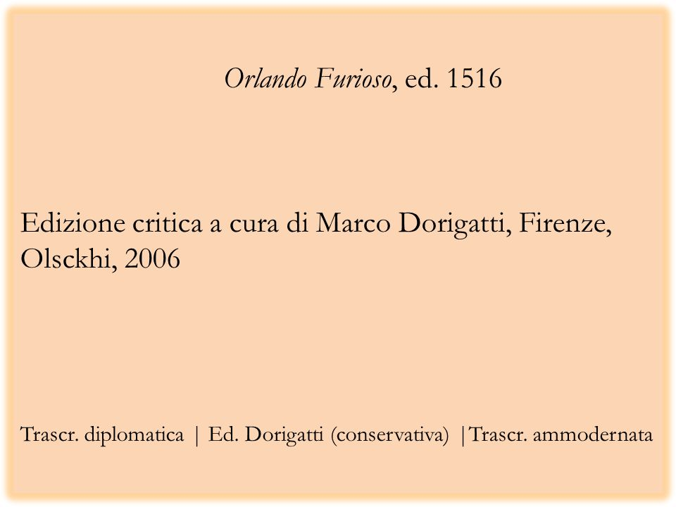 Orlando Furioso, ed.