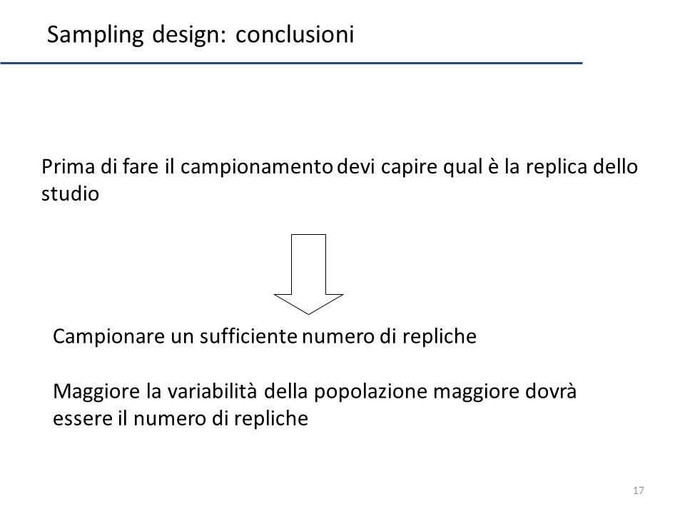 Sampling design: conclusioni