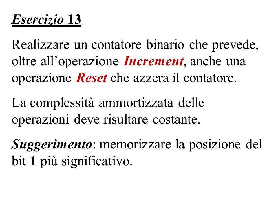 Esercizio 13 Realizzare un contatore binario che prevede, oltre all'operazione Increment, anche una operazione Reset che azzera il contatore.