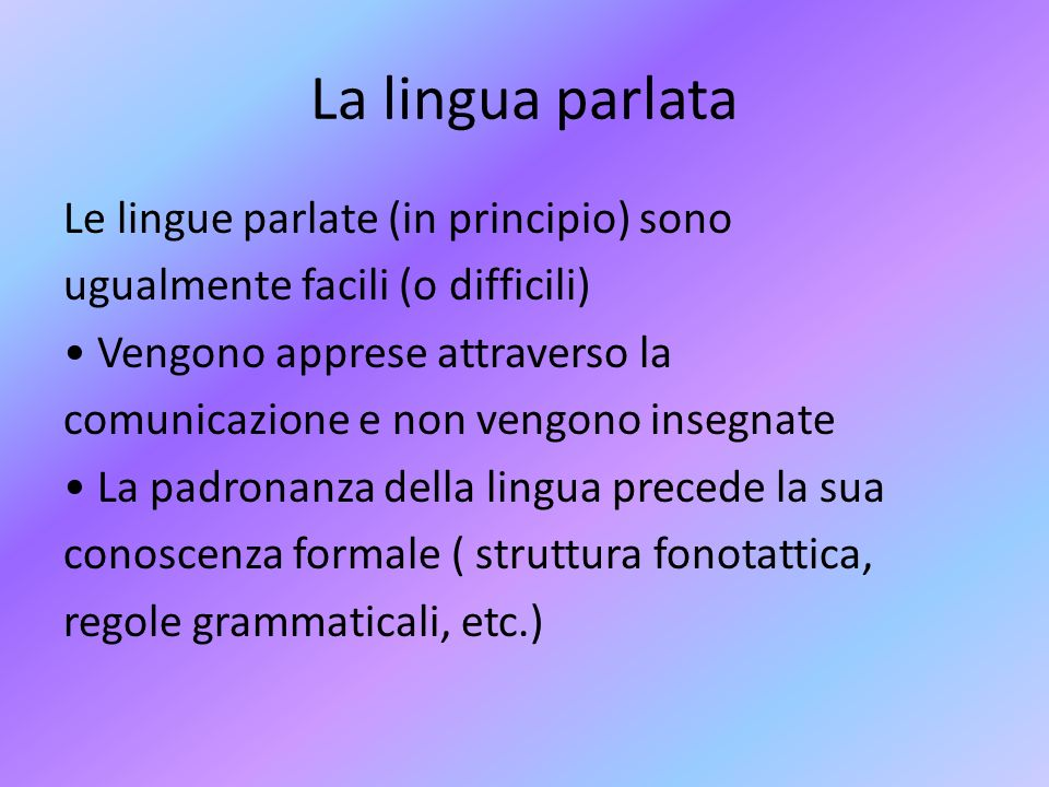 La lingua parlata