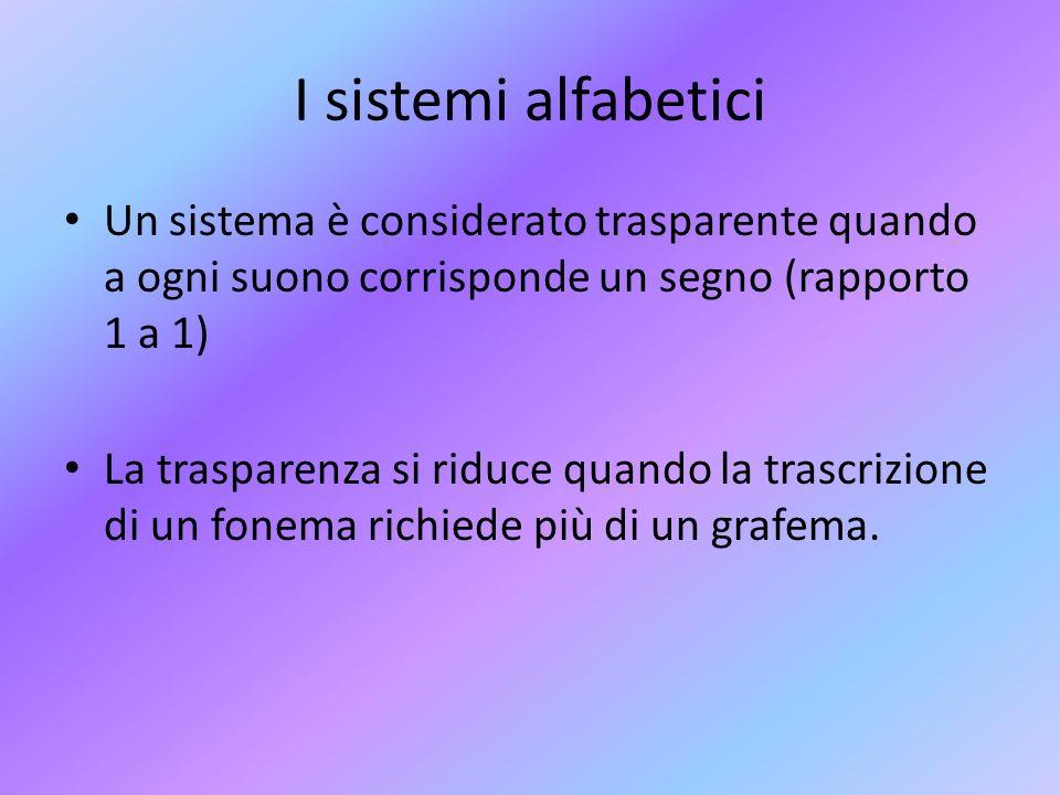 I sistemi alfabetici Un sistema è considerato trasparente quando a ogni suono corrisponde un segno (rapporto 1 a 1)